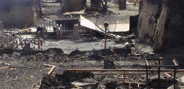 حي الملكية في مدينة ملكال الذي تم تدميره بسبب المعارك التي دارت بين الحكومة والمتمردين يوم 14 يناير 2014، ثالث فبراير 2014. © النيلان   فرانسيس مايكل