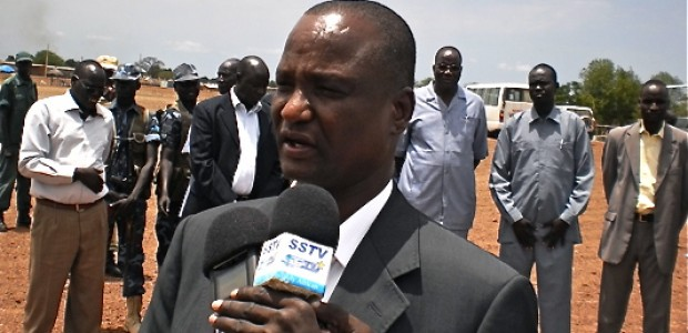 The Governor of Unity State, Taban Deng Gai, addressing the press after the official SPLA Day celebrations in Bentiu (16.05.2012).