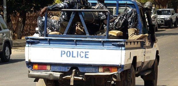 A South Sudan Police Service pick-up patrolling in Juba, January 17, 2014.
