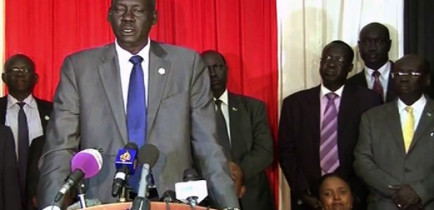 Deng Alor Kuol briefng the press in Juba, June 2015.