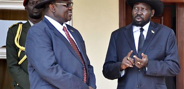 President Salva Kiir and his former Deputy Riek Machar, April 12, 2013.