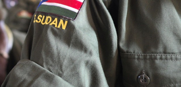 A badge with South Sudan's flag on a uniform of an SPLA soldier.