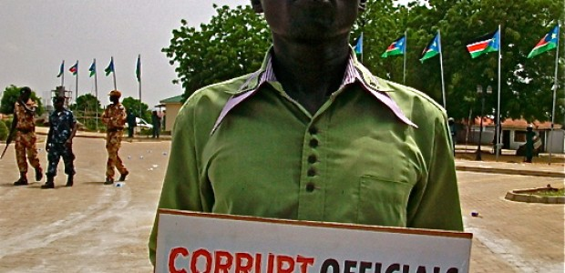 Riak Maker, a Public Administration student at the University of Juba, during an anti-corruption rally in Juba, June 11.