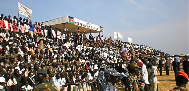The Bentiu Independence Stadium filled with citizens to celebrate the country's first independence anniversary on July 9.