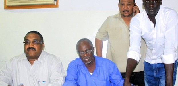 Signature ceremony of Atir Thomas' transfer to al-Ahly al-Khartoum Club at the offices of the Football Association June 6, in Khartoum. Atir is the first player under contract in Sudan.