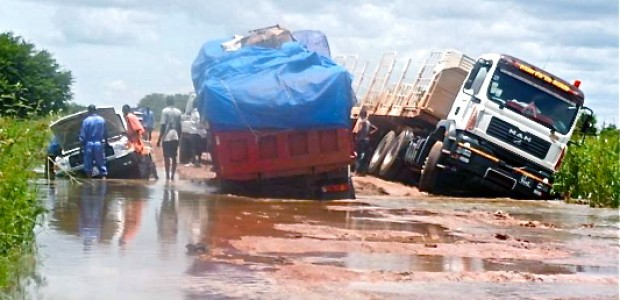A flooded road between Rumbek and Yirol, September 27.