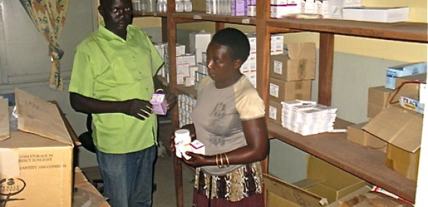 Laat Makuek Manyiel (left), clinical officer in charge of anti retroviral therapy in Rumbek State Hospital, October 26.