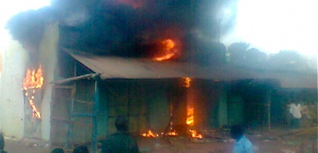 The burning health centre in Wulu, April 5.