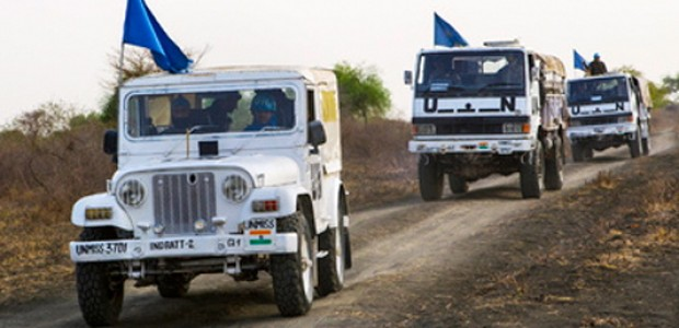 A UNMISS convoy patrolling in Jonglei State, March 6.