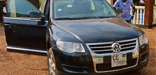 A car in Juba, registered with a license plate issued by Central Equatoria State (CE), November 24, 2012.