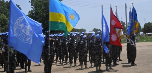 UN Peacekeepers in Bor, Jonglei State, commemorate the International Day of United Nations Peacekeepers, May 29.