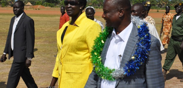 Unity Sate's Governor Taban Deng Gai and Warrap State's Governor Nyandeng Malek in Kuajok, June 19.
