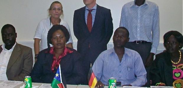German Ambassador-designate to S. Sudan David Schwake, Beate Mueller-Grunewald of the German Embassy and the award recipients in Juba, August 2.