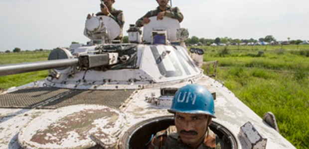 Members of the Indian contingent serving with the UN Mission in South Sudan (UNMISS) on patrol in Pibor, Jonglei State, July 24.