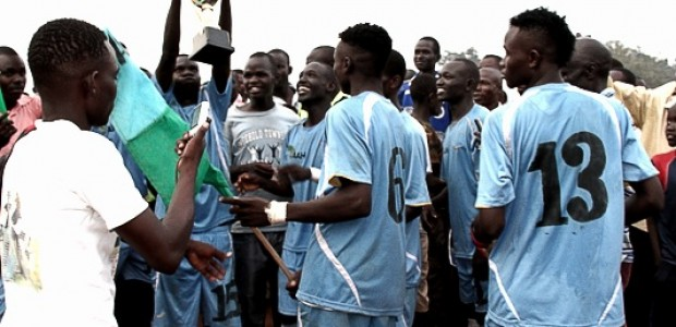 Members of the Mbwotala FC from Maridi, Western Equatoria State, celebrate their victory over Young Star FC from Logwilu Boma in Wonduruba, Central Equatoria State, September 1.