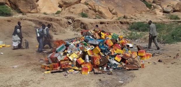 حرق السلع الفاسدة في ولاية كسلا، 29 يوليو 2015. (cc) النيلان | حامد إبراهيم