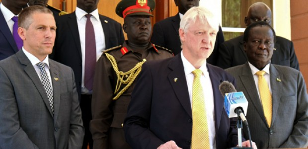German Ambassador Johannes Lehne addressing the Media after he presented his credentials to South Sudan's President Salva Kiir Mayardit.
