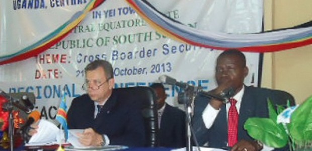 Western Equatoria State Governor Bangasi Joseph Bakosoro (right) during the cross border conference in Yei, October 21.