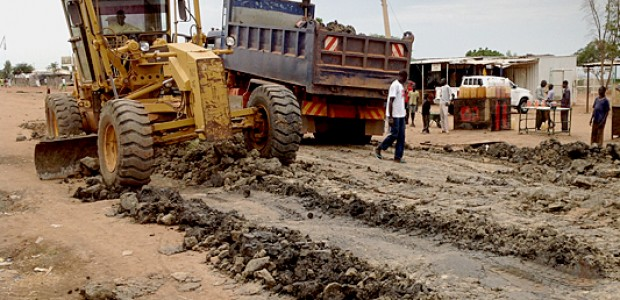 A grader improving roads in Bentiu town, November 8.