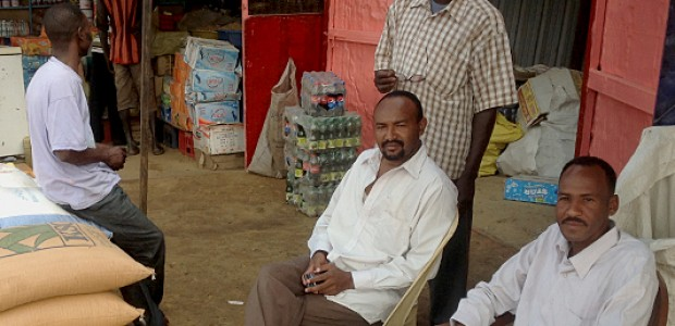 Sudanese traders in front of their shop in Rubkonta County, November 13.