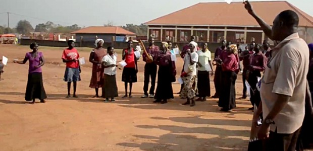 Church members in Yei waving white flags as a symbol of peace, December 25, 2013.