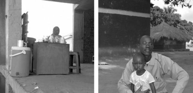 تهاني محمد، تبيع الشاي في الخرطوم، بعيدا عن منزلها، وأليكس رومو، نازع الألغام، مع طفلته.