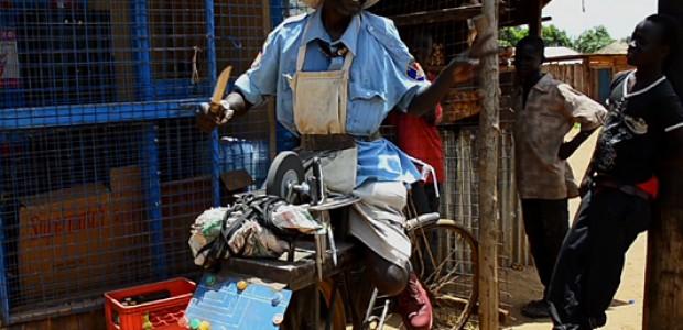 Edison Mwangi, a Kenyan entrepreneur in Yei, South Sudan, April 2014.