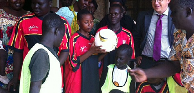 The German Ambassador to South Sudan David Schwake after handing over the footballs and jerseys in Juba, July 18.