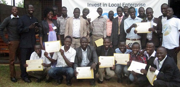 A group in Yei after receiving a certificate in agribusiness, July 24.