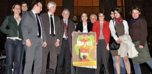 Politicians launching SudanVotes Album outside the Bundestag
