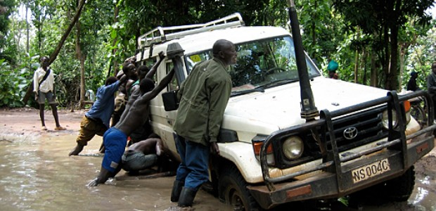 A vehicle stuck in Yei County, South Sudan, August 14, 2006.