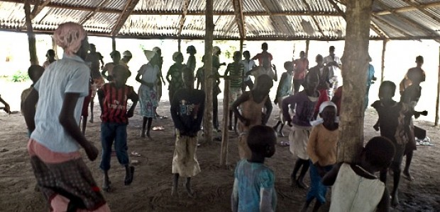 South Sudanese children entrain themselves in Nyumanzi refugee camp, Uganda, August 29.
