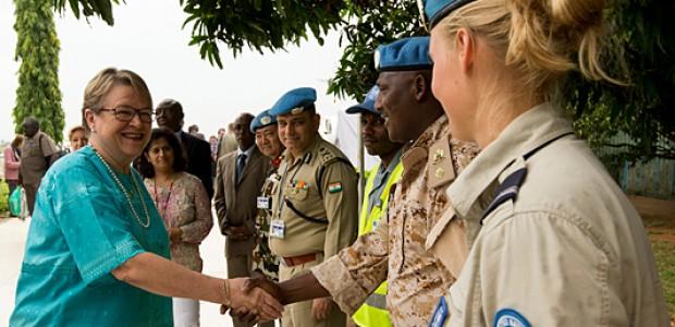 Ellen Magerette Løj (left) upon her arrival in Juba, September 2.