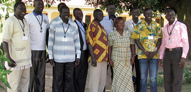 Chairpersons of the National Healing, Peace and Reconciliation Committee from all the ten states and from Abyei pose for a picture in Yei, October 3.