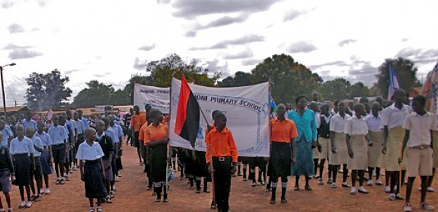 Pupils at Yei Freedom Square on World Teachers' Day 2014, October 5.