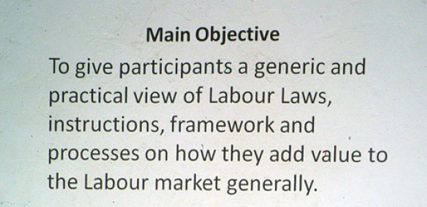 A slide presented to participants of a labour law training in Yei, September 25.