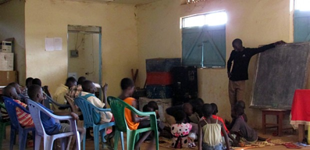 Street children attending maths classes at Free Space for Street Children, in Yei, October 13.