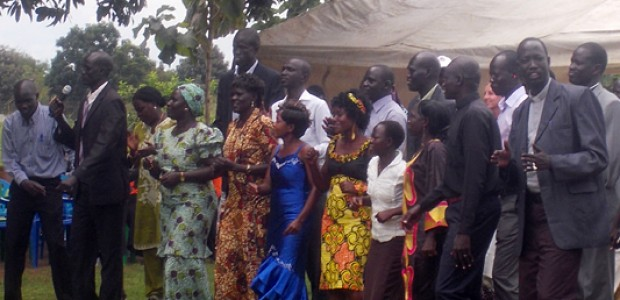 Newly trained peace mobilisers perform during their graduation in Yei, October 29.