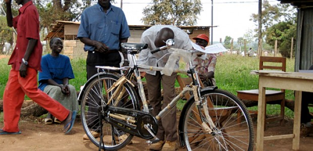 Community-based health workers receive bicycles to ease their work in Yei County, November 16, 2005.