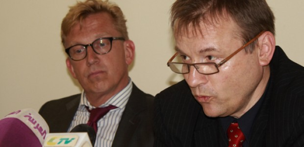 Georg Schmidt (right), Director General for Sub-Saharan Africa and Sahel in the German Federal Foreign Office, and David Schwake, German Ambassador to the Republic of South Sudan, at a news conference in Juba on April 21, 2015.