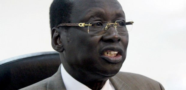 South Sudan's Foreign Minister, Barnaba Marial Benjamin, addresses the press in Juba, June 21, 2012.