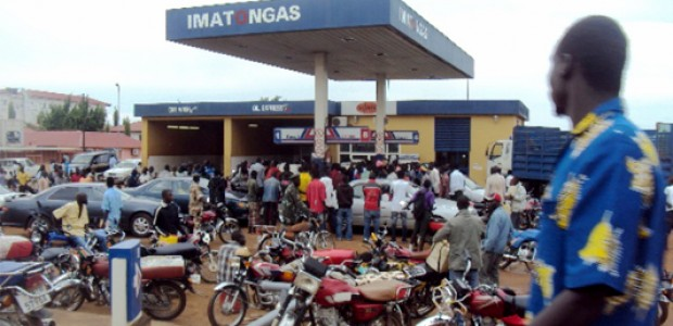 Boda boda drivers lining up to get fuel at Imatongas station in Juba, February 14, 2011.