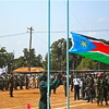 The South Sudanese flag was raised at 11 a.m. sharp in Yei.