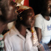 Mawa Fanan (left) and members of the Malembe Band during a recording session in Morobo, August 2006.