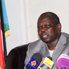 Pagan Amum Akech, GoSS Chief Negotiator, addresses the press at Juba airport before his departure to Addis Ababa (28.05.2012).