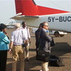 Betty Achan Ogwaro (left) and part of her team after an emergency landing at Juba International Airport (30.05.2012).