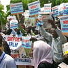 Members of the South Sudan Civil Society Alliance demonstrate at the National Assembly in Juba, June 11.