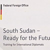 "Cover page of a leaflet about the ""Executive Seminar for Diplomats from South Sudan""."