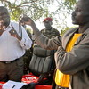 South Sudan's Vice President, Riek Machar Teny (left), addresses locals at a Rumbek rally, July 3.
