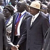 Ugandan President Yoweri Kaguta Museveni (in hat) arrives in Juba for South Sudan's independence celebrations, July 9.